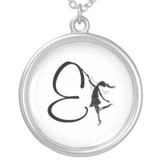 Art Fairy Inital: E Round Pendant Necklace