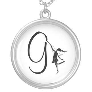 Art Fairy Inital: G Round Pendant Necklace