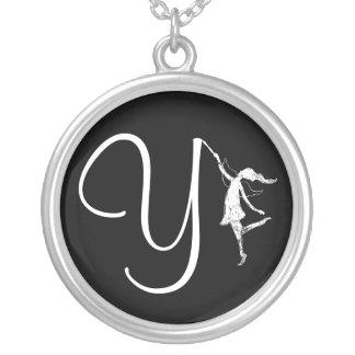 Art Fairy Inital: Y Round Pendant Necklace