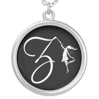 Art Fairy Inital: Z Round Pendant Necklace
