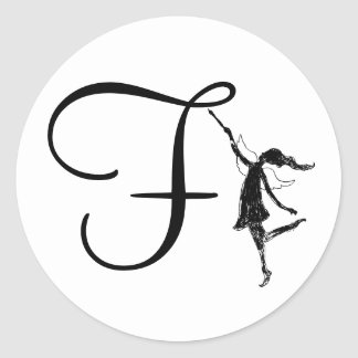 Art Fairy Initial: F Classic Round Sticker