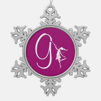 Art Fairy Initial: G Snowflake Pewter Christmas Ornament