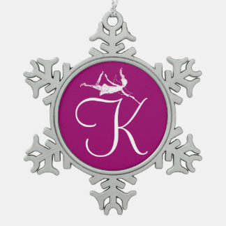 Art Fairy Initial: K Snowflake Pewter Christmas Ornament