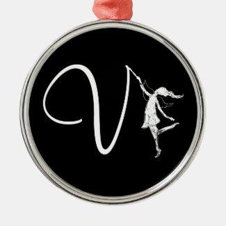 Art Fairy Initial: V Christmas Ornament