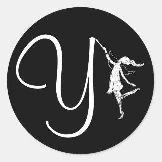 Art Fairy Initial: Y Classic Round Sticker