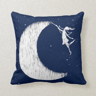 Art Fairy: Paint The Moon Midnight Blue Throw Pillow