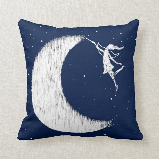 Art Fairy: Paint The Moon Midnight Blue Throw Pillow Zazzle