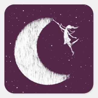 Art Fairy: Paint The Moon (purple) Square Sticker