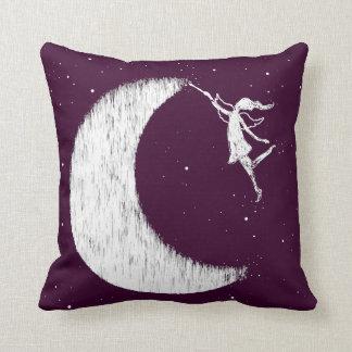 Art Fairy: Paint The Moon Purple Throw Pillow