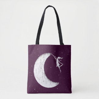 Art Fairy: Paint The Moon (Purple) Tote Bag