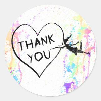 Art Fairy Thank You Classic Round Sticker