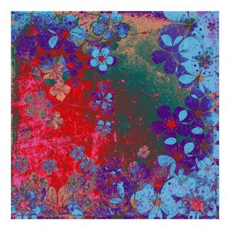 Art floral grunge background pattern poster