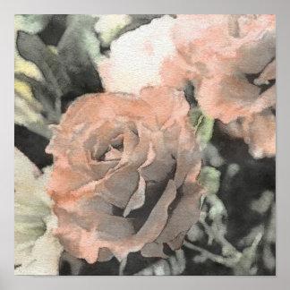 art floral vintage background with light pink poster