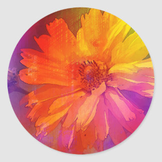 Art Floral Vintage Rainbow Background Classic Round Sticker