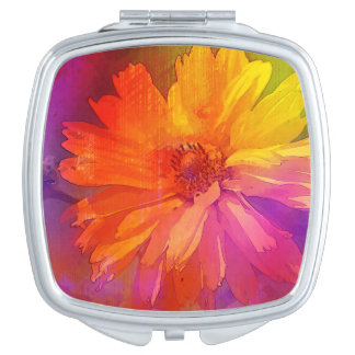 Art Floral Vintage Rainbow Background Compact Mirror