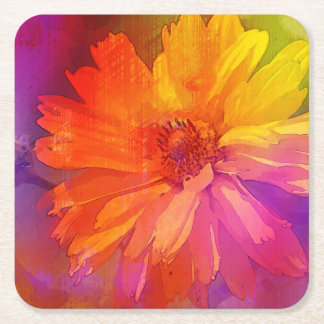 Art Floral Vintage Rainbow Background Square Paper Coaster