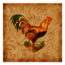 Art For The Kitchen Ornate Rustic Rooster Poster
