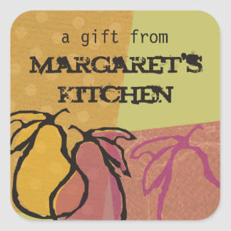 Art fruit pears cooking baking food gift label square sticker