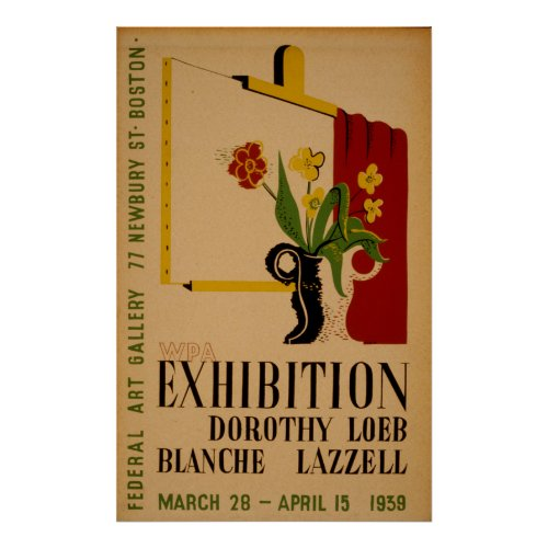 Art Gallery Exhibition Boston Vintage WPA Poster