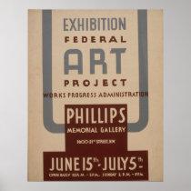 Art Gallery Exhibition Vintage WPA Poster