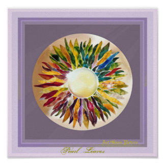 ART GLASS Pearl Leaves GLOSSY POSTER