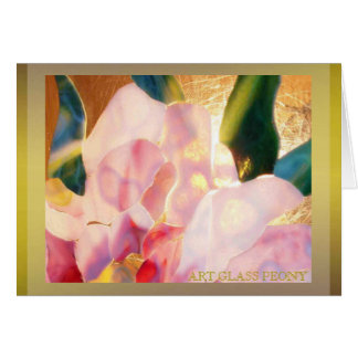 Art Glass Peony Excellent Card