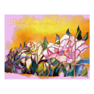 Art Glass Peony Thank You Lovely Card