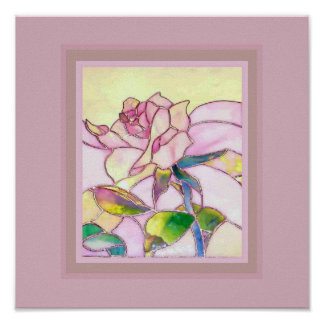 Art Glass Sweet Pink Rose Poster square