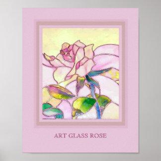 Art Glass Sweet Pink Rose Wallpaper Poster