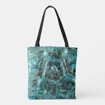 McTiffany Tiffany Aqua Art Glass Tiffany Teal Blue Jewel Crocodile Skin Tote Bag