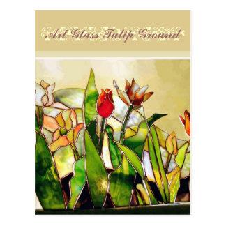Art Glass Tulip Ground Excellent Fashion Postcard
