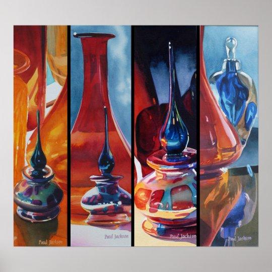 Art Glass Watercolor Menagerie Poster