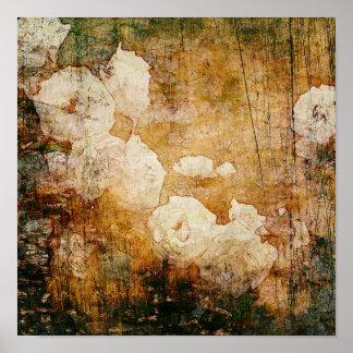 art grunge floral vintage background texture poster