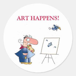 ART HAPPENS! by April McCallum Round Sticker