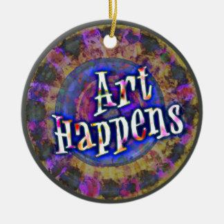 Art Happens Color Splash Blue Ceramic Ornament