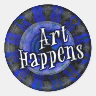 Art Happens Color Splash Blue Classic Round Sticker