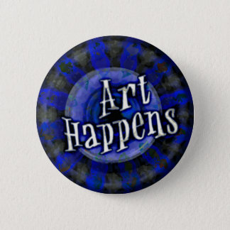 Art Happens Color Splash Blue Pinback Button