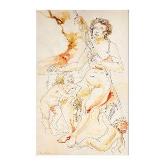 ART - HARRIET DAVIDSOHN - A STUDY MOTHER CHILDREN GALLERY WRAPPED CANVAS