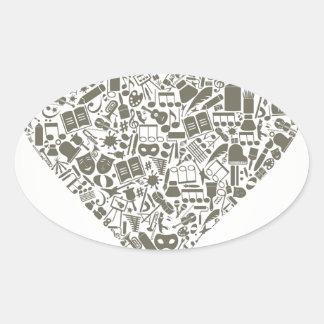 Art heart oval sticker