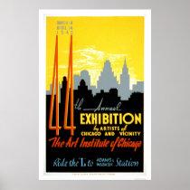 Art Institute Chicago 1940 WPA Poster