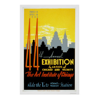 Art Institute Chicago 1940 WPA Poster