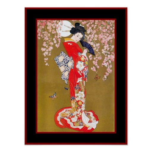 Art Japanese Geisha Lady Vintage Poster Poster