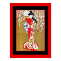 Art Japanese Geisha Lady Vintage Poster 2
