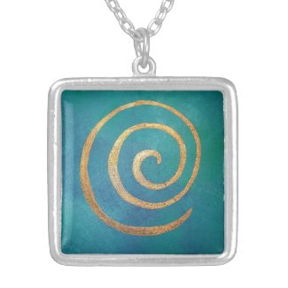 Art Jewelry Necklace Wearable Art Gold Bright Blue