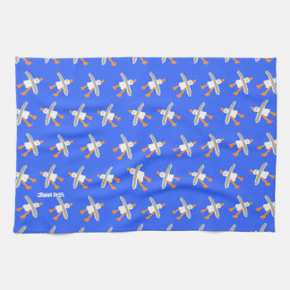 Art Kitchen Towel: John Dyer Seagulls, Blue Towel
