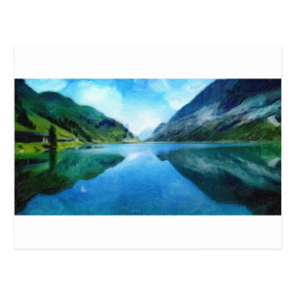 art - lake-mountains postcard