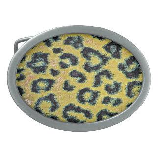 Art leopard fur 2 belt buckle