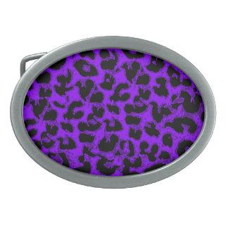 Art leopard fur 3 oval belt buckle