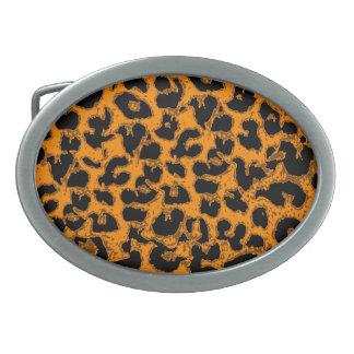 Art leopard fur 6 oval belt buckle