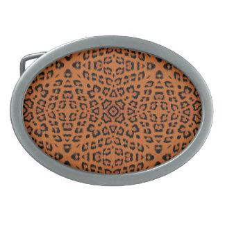 Art leopard fur seamless 2 oval belt buckle